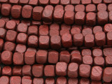 Red/Brown Cube Wood Beads 6mm (WD928)
