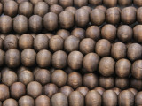 Brown Round Wood Beads 7-8mm (WD936)