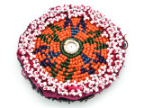 Old Kuchi Beaded Tribal Medallion - Afghanistan 87mm (AF537)