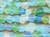 Assorted Recycled Sea Glass Beads 5-14mm (RG1007)