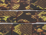 Yellow Snakeskin Rectangular Printed Shell Beads 30mm (SH535)