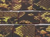Yellow Snakeskin Rectangular Printed Shell Beads 30mm (SH535)