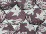 Purple Maple Leaf Round Printed Shell Beads 35mm (SH543)