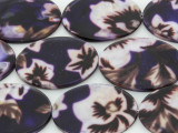 Dark Purple Floral Oval Printed Shell Beads 35mm (SH550)
