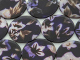 Dark Purple Floral Round Printed Shell Beads 30mm (SH551)