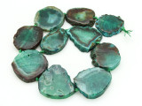 Green Agate Slab Gemstone Beads 35-43mm (AS853)