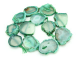 Green Agate Slab Gemstone Beads 26-40mm (AS861)