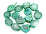 Green Agate Slab Gemstone Beads 25-32mm (AS867)