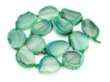 Green Agate Slab Gemstone Beads 26-33mm (AS870)