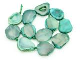 Green Agate Slab Gemstone Beads 30-35mm (AS871)