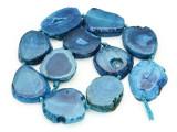 Blue Agate Slab Gemstone Beads 29-38mm (AS873)