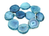Blue Agate Slab Gemstone Beads 33-43mm (AS876)