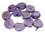Purple Agate Slab Gemstone Beads 30-39mm (AS878)