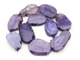 Purple Agate Slab Gemstone Beads 35-45mm (AS885)