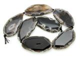 Black Agate Slab Gemstone Beads 57-62mm (AS900)