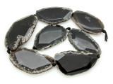 Black Agate Slab Gemstone Beads 50-64mm (AS902)