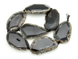 Black Agate Slab Gemstone Beads 51-55mm (AS904)
