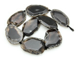 Black Agate Slab Gemstone Beads 44-53mm (AS907)