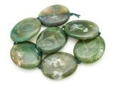 Green Agate Slab Gemstone Beads 53-55mm (AS936)