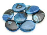 Blue Agate Slab Gemstone Beads 52-55mm (AS939)