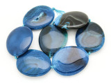Blue Agate Slab Gemstone Beads 53-55mm (AS940)