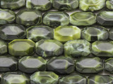 Green Faceted Rectangular Resin Beads 15mm (RES610)