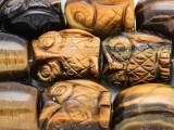 Tiger Eye Barrel Owl Gemstone Beads 25mm (GS4136)