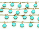 "Brass w/Turquoise Enamel Round Charms Chain 11mm - 36""  (CHAIN90)"