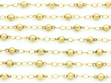 "Gold Plated Brass Ball & Link Chain 8mm - 36""  (CHAIN91)"