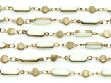"Brass w/Ivory Enamel Oval Link Chain 15mm - 36""  (CHAIN94)"