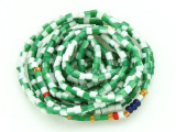 Green & White Glass Seed Beads 2mm - Ghana (AT7202)