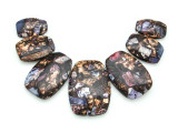 Bronzite & Purple Mosaic Jasper Gemstone Pendant - Set of 7 (GSP1666)