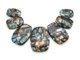 Bronzite & Blue Mosaic Jasper Gemstone Pendant - Set of 7 (GSP1667)