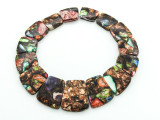 Bronzite & Multi-Color Mosaic Jasper Gemstone Pendant - Set of 15 (GSP1669)