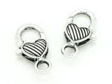 Pewter Heart Lobster Clasp 26mm (PB817)