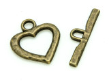 Brass Pewter Heart Toggle Clasp 32mm (PB833)