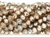 Smoky & Gold Crystal Glass Beads 8mm (CRY259)