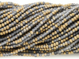 Matte Gray & Gold Crystal Glass Beads 2-3mm (CRY289)