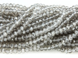 Gray & Clear Crystal Glass Beads 4mm (CRY323)