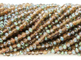 Amber & Teal Crystal Glass Beads 4mm (CRY330)