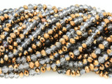 Gray & Copper Crystal Glass Beads 4mm (CRY331)