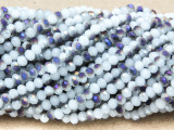 Frosty White & Purple Crystal Glass Beads 4mm (CRY339)