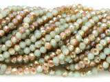 Light Sage Green & Amber Crystal Glass Beads 4mm (CRY354)