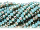 Turquoise & Bronze Crystal Glass Beads 6mm (CRY368)