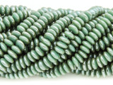 Sage Green Saucer Crystal Glass Beads 6mm (CRY387)