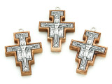 Olive Wood & Metal San Damiano Cross Pendant - 43mm (SF21)