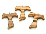 Olive Wood Franciscan Cross Pendant - 39mm (SF23)
