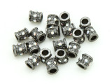 Pewter Bead - Silver Jeweled Barrel 7mm (PB847)