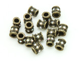 Pewter Bead - Brass Jeweled Barrel 7mm (PB849)