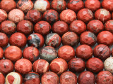 Poppy Jasper Faceted Round Gemstone Beads 10mm (GS4298)